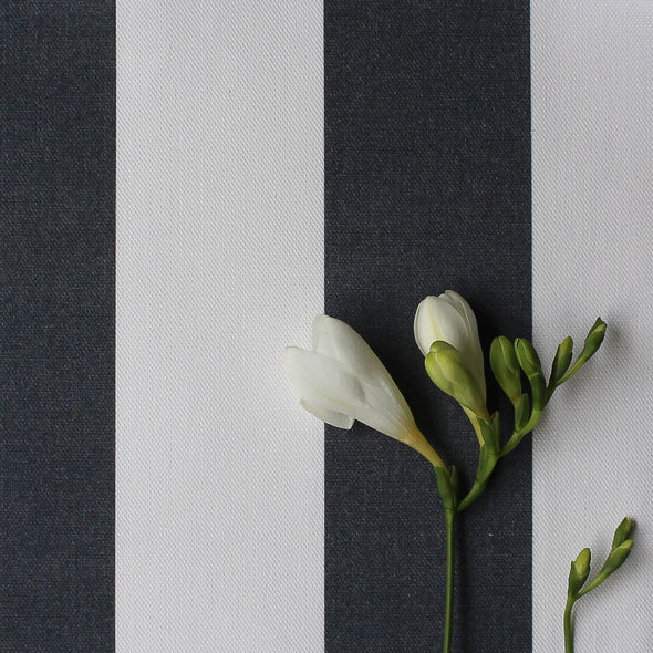 Awning Stripe cotton linen fabric in Graphite grey