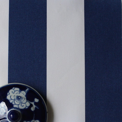 Awning Stripe cotton linen fabric in Navy blue