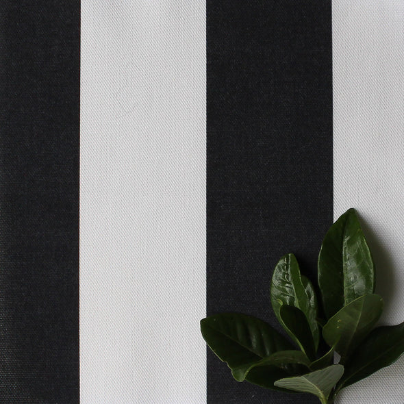 Awning Stripe cotton linen fabric in Noir black