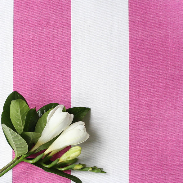 Awning Stripe cotton linen fabric in Raspberry pink