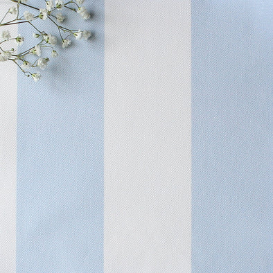 Awning Stripe cotton linen fabric in Serenity pale blue