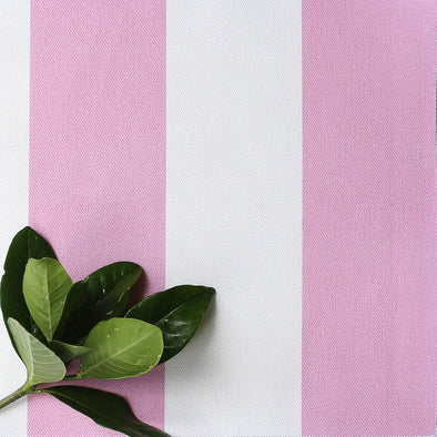 Awning Stripe cotton linen fabric in Tickled bright pink