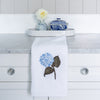 embroidered hand towel blue hydrangea