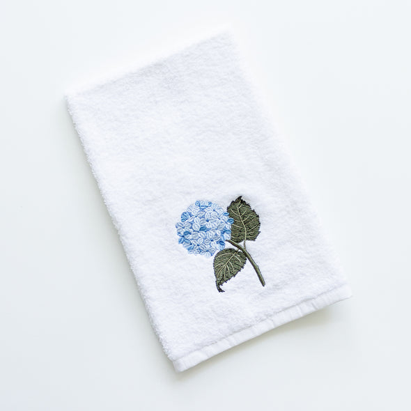 Blue hydrangea embroidered hand towel