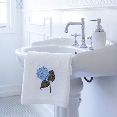 Embroidered hydrangea guest towel