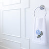 Embroidered hydrangea hand towel