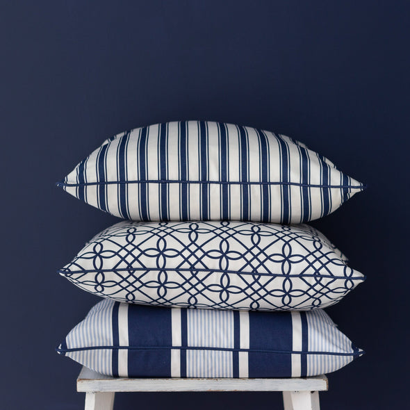 stack of navy blue cushions