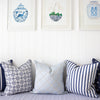 Greek Gate Cushion navy blue