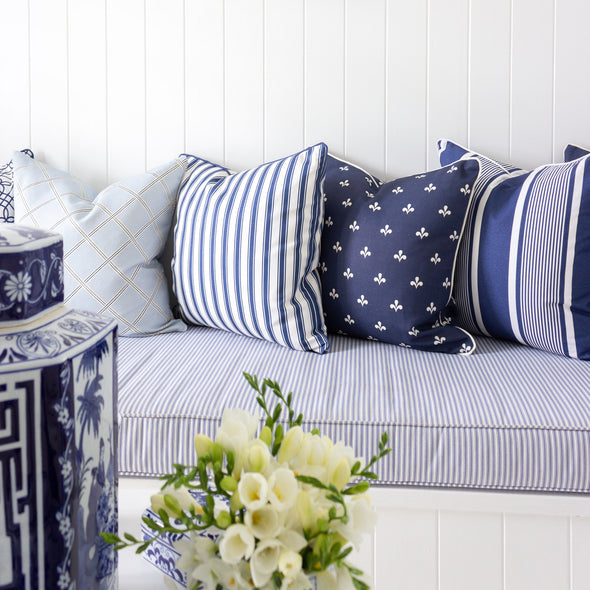 Regatta Stripe Cushion navy blue