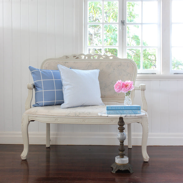 Petite Stripe blue cushion