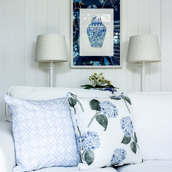 hydrangea watercolour cushion