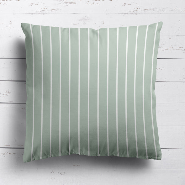 Breton Stripe cotton linen fabric in Eau de Nil green
