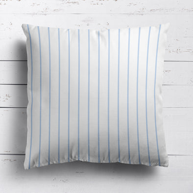 Breton Stripe cotton linen cushion in Serenity pale blue