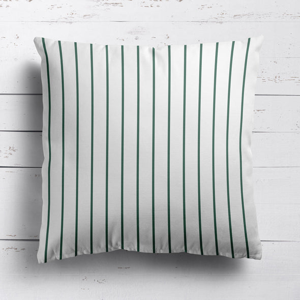 Breton Stripe cotton linen cushion in Leaf dark green