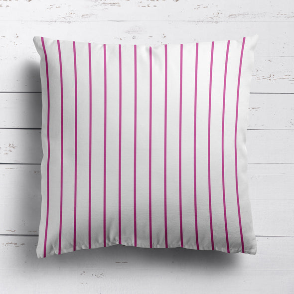 Breton Stripe cotton linen cushion raspberry pink