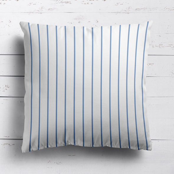 Breton Stripe cotton linen cushion in Breeze mid blue
