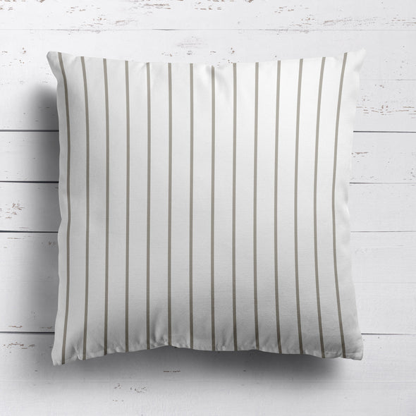 Breton Stripe cotton linen cushion Chateaux beige