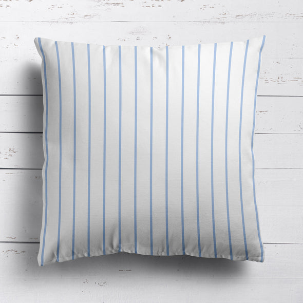 Breton Stripe cotton linen cushion in Cornflower pale blue