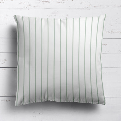 Breton Stripe cotton linen cushion in Eau de Nil green
