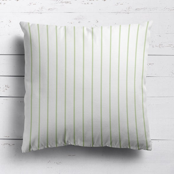 Breton Stripe cotton linen cushion in Elderflower green