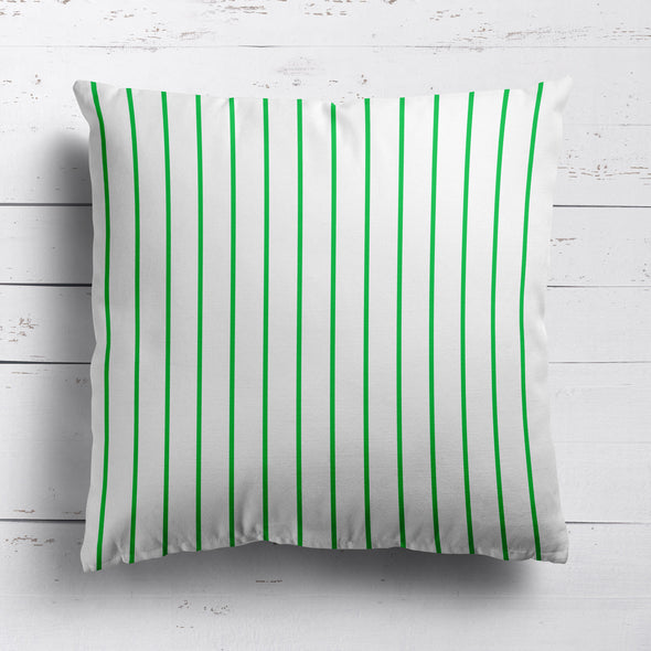 Breton Stripe cotton linen cushion in Emerald green