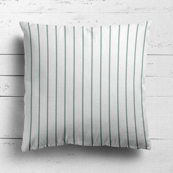 Breton Stripe cotton linen cushion in Eucalyptus green