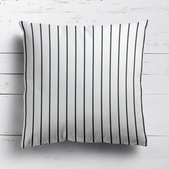 Breton Stripe cotton linen cushion graphite grey
