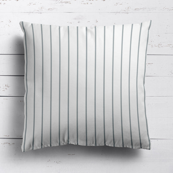 Breton Stripe cotton linen cushion koala grey