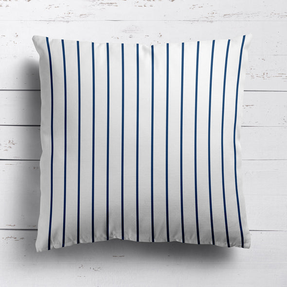 Breton Stripe cotton linen cushion in Navy blue
