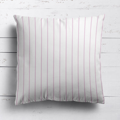 Breton Stripe cotton linen cushion Peony pink