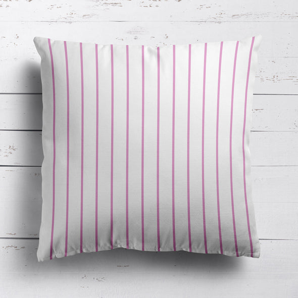 Breton Stripe cotton linen cushion bright pink