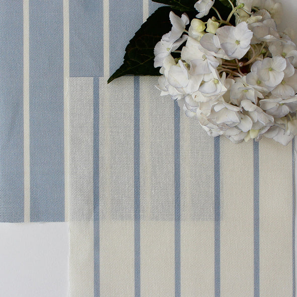 Breton Stripe cotton linen fabric in Breeze blue