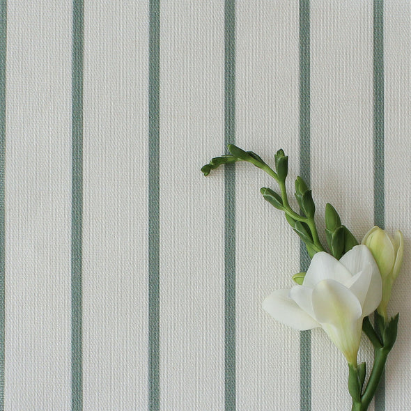 Breton Stripe cotton linen fabric in Eucalyptus green