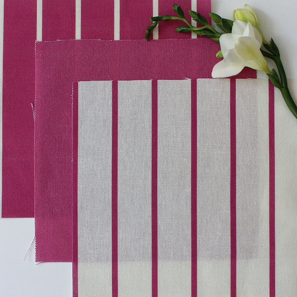 Breton Stripe cotton linen fabric in Raspberry pink