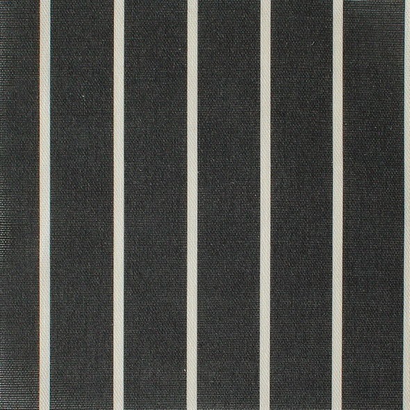 Breton Stripe cotton linen fabric in Graphite grey