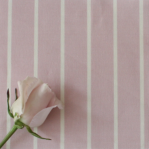 Breton Stripe cotton linen fabric in Peony pink