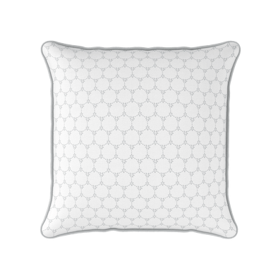 Daisy chain geometric floral pattern cushion dove grey