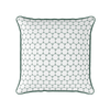 Daisy chain geometric floral pattern cushion green