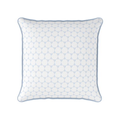 Daisy chain geometric floral pattern cushion blue