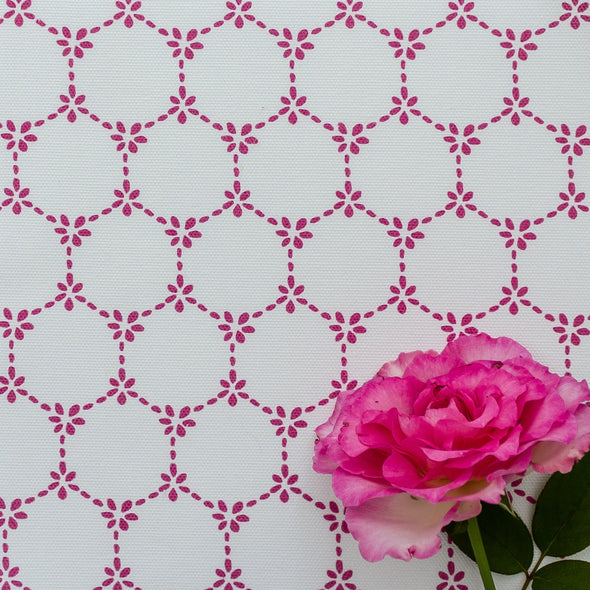Daisy Chain pretty floral fabric raspberry pink