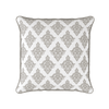 Damask pattern piped cushion taupe