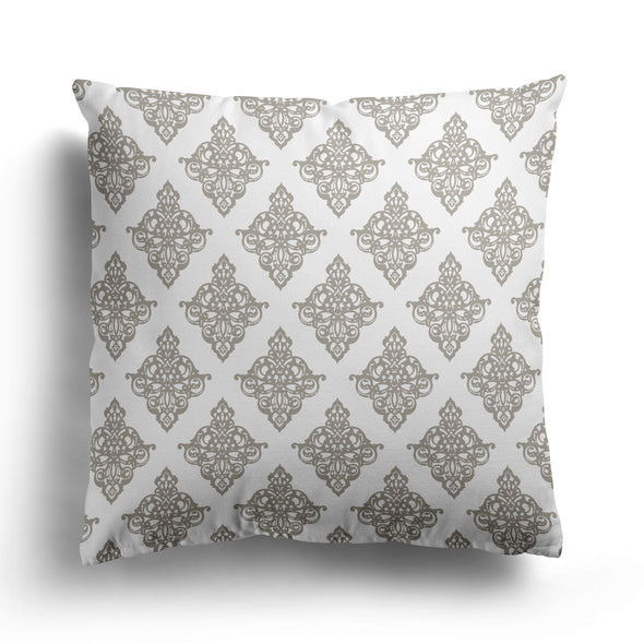 taupe beige damask cushion