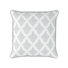 Damask pattern piped cushion dove grey