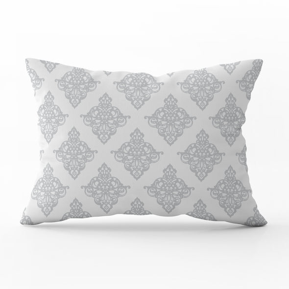 damask rectangle cushion dove grey