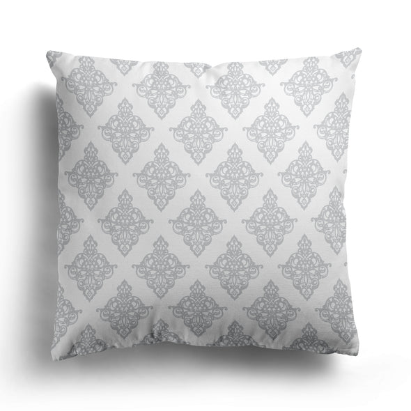 dove grey damask cushion