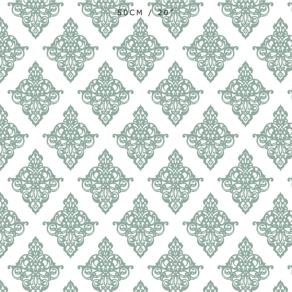 Damask fabric eucalyptus green