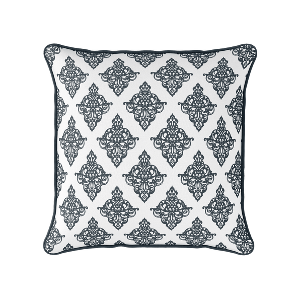 Damask pattern piped cushion graphite grey