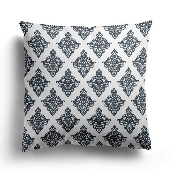 damask scroll cushion graphite