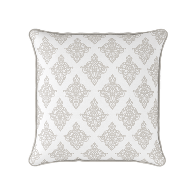 Damask pattern piped cushion beige