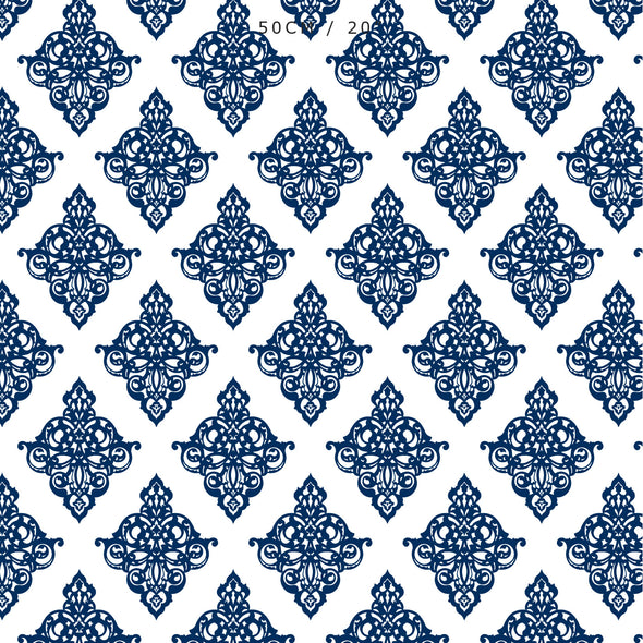 damask fabric navy blue